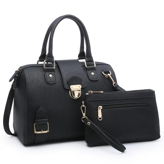 Preload https://img-static.tradesy.com/item/25327418/w-buckle-snap-and-zip-top-closure-black-blue-or-taupe-faux-leather-satchel-0-0-540-540.jpg