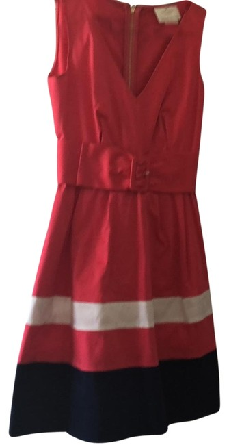 Item - Deep Coral White and Navy Look For The Silver Lining Short Casual Dress Size 0 (XS)