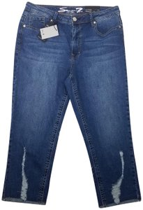 Seven7 Worn & Torn Capri/Cropped Denim-Medium Wash