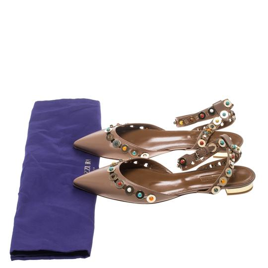 Aquazzura Leather Embellished Pointed Toe Brown Flats Image 7