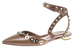 Aquazzura Leather Embellished Pointed Toe Brown Flats