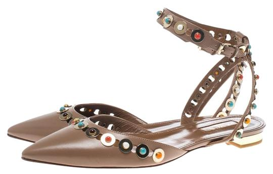Aquazzura Leather Embellished Pointed Toe Brown Flats Image 3