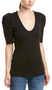Free People Knit Ellery Ponte Cotton Puffed Sleeves T Shirt Black