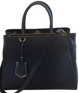 Fendi Leather Monogram Tote in Black with Gold detailing