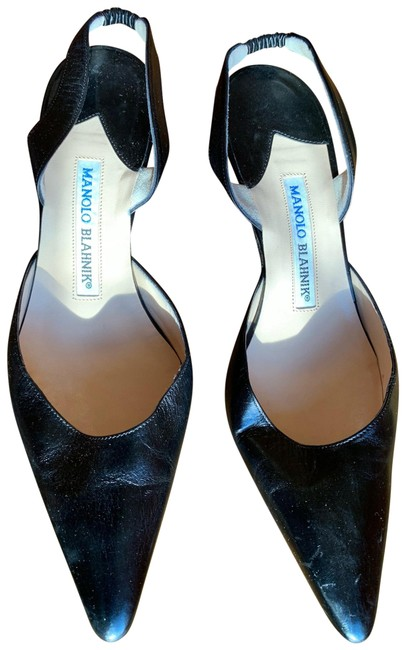 Item - Black Carolyne Satin Low-heel Slingback Pumps Size EU 37 (Approx. US 7) Regular (M, B)