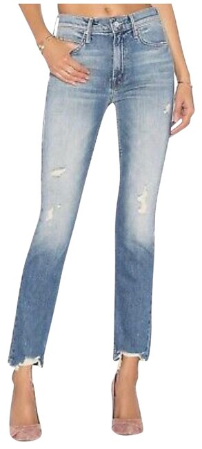 """Item - """"testing The Waters"""" Distressed Superior Flirt Ankle Straight Leg Jeans Size 6 (S, 28)"""