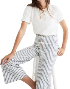 Madewell Wide Leg Pants Blue and white stripe