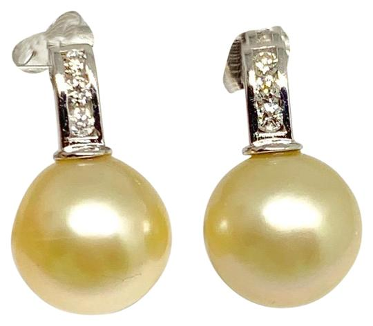 Estate CERTIFIED 3490 South Sea Golden Pearls & Diamond 11.6Mm 14Kt 13262 Image 2
