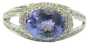 custom Natural Oval Tanzanite & Diamond White Gold Jewelry Ring 2.10Ct 14Kt