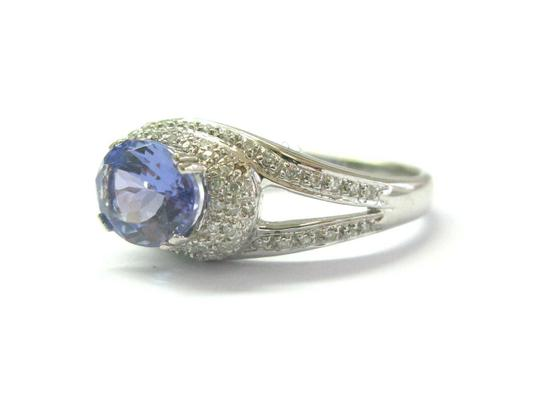 custom Natural Oval Tanzanite & Diamond White Gold Jewelry Ring 2.10Ct 14Kt Image 1