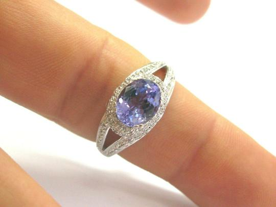 custom Natural Oval Tanzanite & Diamond White Gold Jewelry Ring 2.10Ct 14Kt Image 4