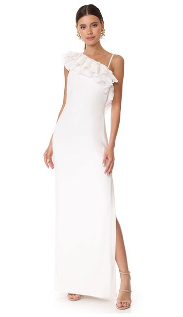 Preload https://img-static.tradesy.com/item/25328690/badgley-mischka-ivory-one-shoulder-ruffle-gown-long-cocktail-dress-size-14-l-0-0-650-650.jpg