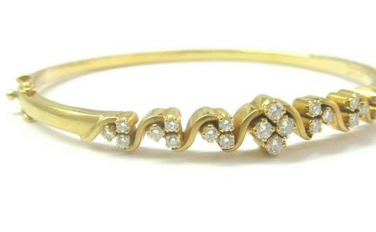custom 18Kt Round Cut Diamond Yellow Gold Cluster Bangle .64Ct Image 1