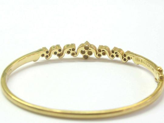 custom 18Kt Round Cut Diamond Yellow Gold Cluster Bangle .64Ct Image 2