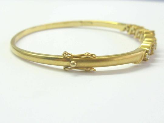 custom 18Kt Round Cut Diamond Yellow Gold Cluster Bangle .64Ct Image 3