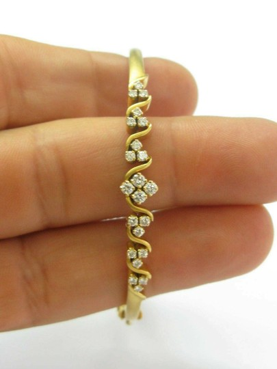 custom 18Kt Round Cut Diamond Yellow Gold Cluster Bangle .64Ct Image 4