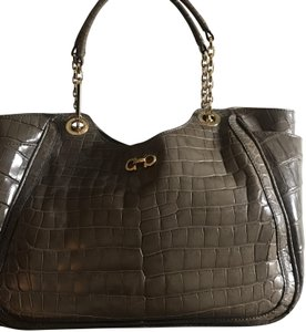 Salvatore Ferragamo Handmade Hand Stitch Suede Interior Deep Side Pockets Crocodile Tote in Grey