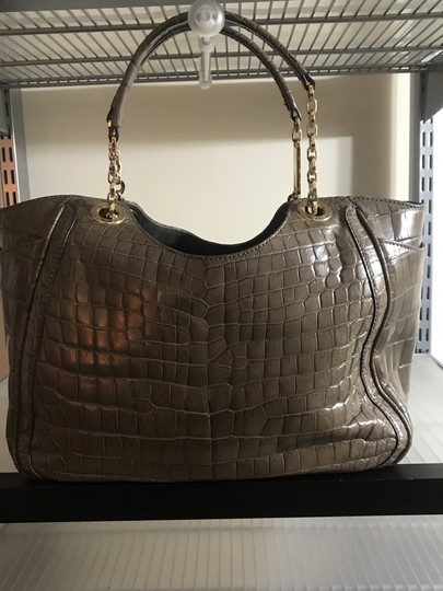 Salvatore Ferragamo Handmade Hand Stitch Suede Interior Deep Side Pockets Crocodile Tote in Grey Image 1