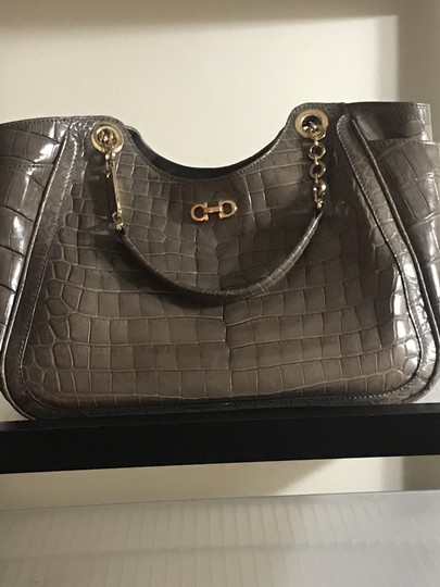 Salvatore Ferragamo Handmade Hand Stitch Suede Interior Deep Side Pockets Crocodile Tote in Grey Image 5