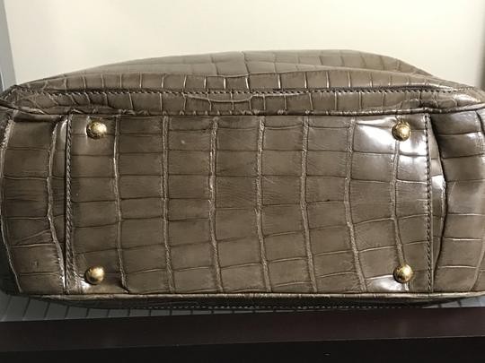 Salvatore Ferragamo Handmade Hand Stitch Suede Interior Deep Side Pockets Crocodile Tote in Grey Image 6