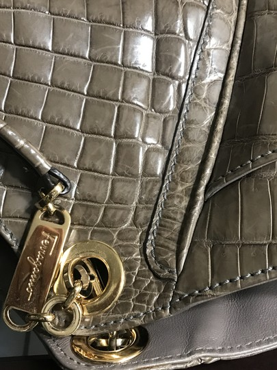 Salvatore Ferragamo Handmade Hand Stitch Suede Interior Deep Side Pockets Crocodile Tote in Grey Image 7