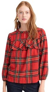 J.Crew Check Flannel Button Down Shirt Red
