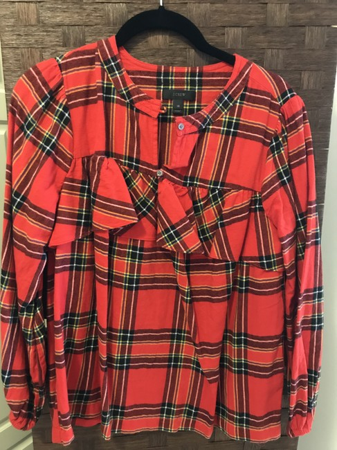 J.Crew Check Flannel Button Down Shirt Red Image 1