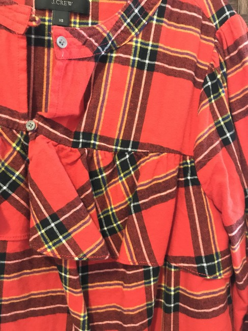 J.Crew Check Flannel Button Down Shirt Red Image 3