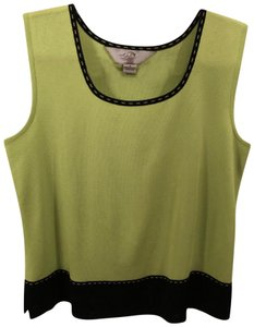 Ming Wang Shell Sleeveless Small Top Lime Green And Black