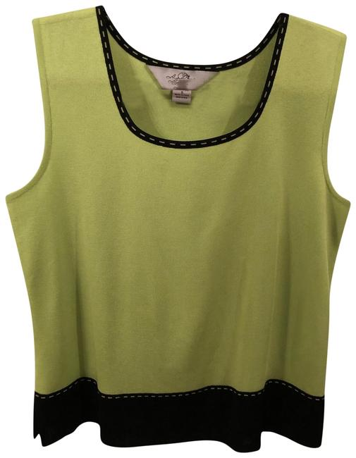 Ming Wang Shell Sleeveless Small Top Lime Green And Black Image 0