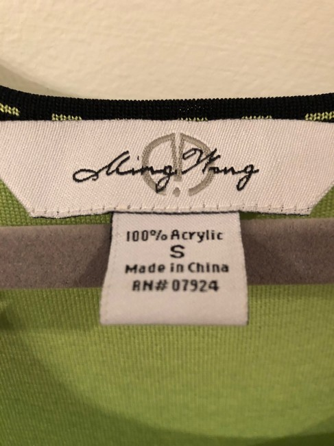 Ming Wang Shell Sleeveless Small Top Lime Green And Black Image 1