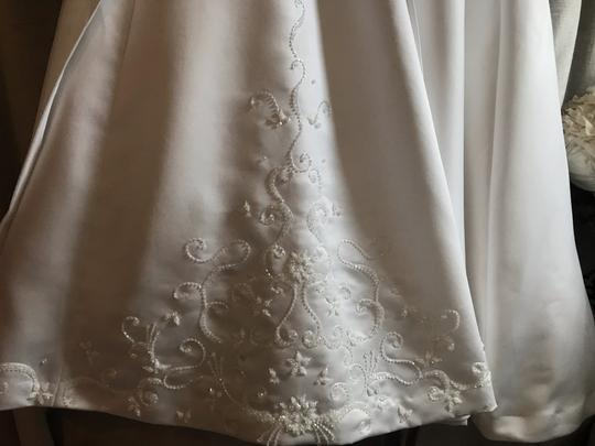 Mary's Bridal White Ivory Satin Cap Sleeve A-line Gown Modest Wedding Dress Size 0 (XS) Image 2