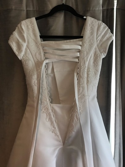 Mary's Bridal White Ivory Satin Cap Sleeve A-line Gown Modest Wedding Dress Size 0 (XS) Image 4