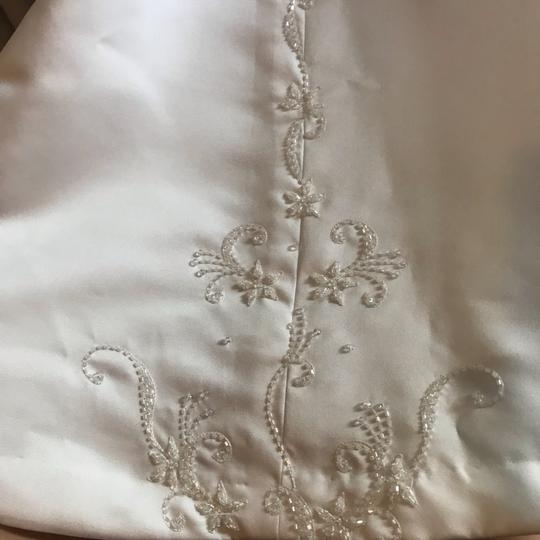 Mary's Bridal White Ivory Satin Cap Sleeve A-line Gown Modest Wedding Dress Size 0 (XS) Image 5