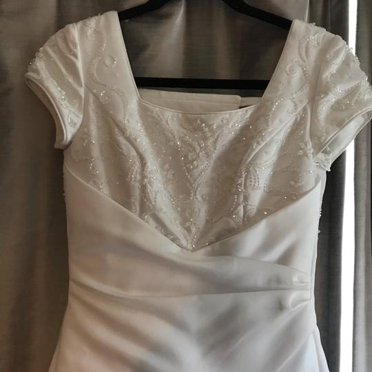 Mary's Bridal White Ivory Satin Cap Sleeve A-line Gown Modest Wedding Dress Size 0 (XS) Image 6