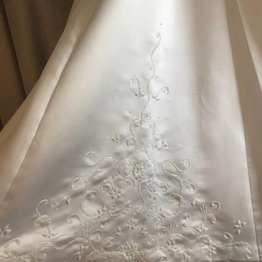 Mary's Bridal White Ivory Satin Cap Sleeve A-line Gown Modest Wedding Dress Size 0 (XS) Image 8