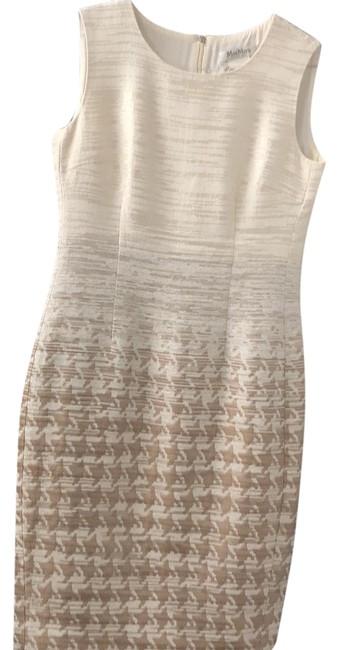 Item - Beige and Brown Mid-length Cocktail Dress Size 10 (M)