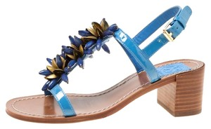 Tory Burch Patent Leather Beaded Blue Sandals