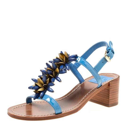 Tory Burch Patent Leather Beaded Blue Sandals Image 1