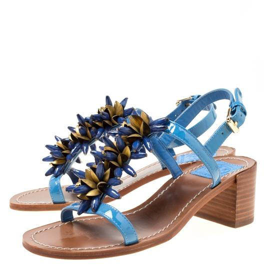 Tory Burch Patent Leather Beaded Blue Sandals Image 2
