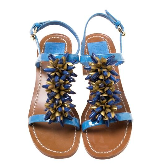 Tory Burch Patent Leather Beaded Blue Sandals Image 3