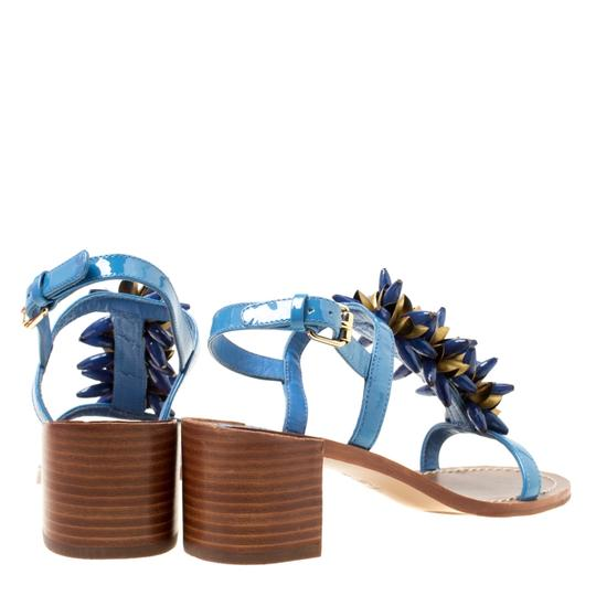Tory Burch Patent Leather Beaded Blue Sandals Image 4