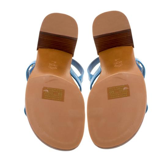 Tory Burch Patent Leather Beaded Blue Sandals Image 5