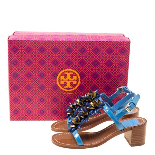 Tory Burch Patent Leather Beaded Blue Sandals Image 7