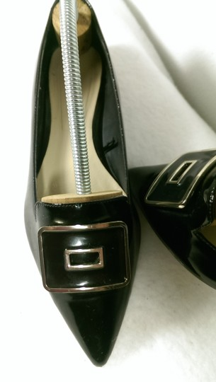 Zara Patent Leather Pump Gold BLACK W/GOLDEN ACCENTS Flats Image 1
