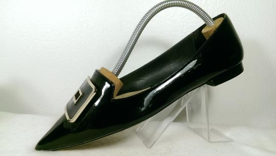 Zara Patent Leather Pump Gold BLACK W/GOLDEN ACCENTS Flats Image 5