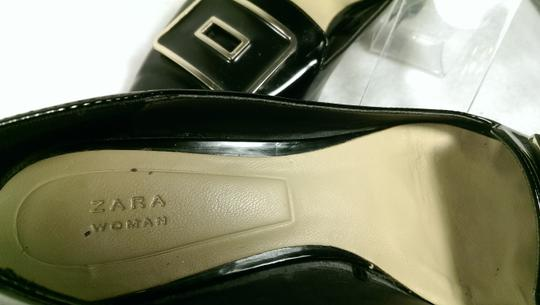 Zara Patent Leather Pump Gold BLACK W/GOLDEN ACCENTS Flats Image 6