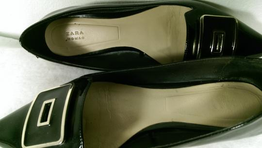 Zara Patent Leather Pump Gold BLACK W/GOLDEN ACCENTS Flats Image 7