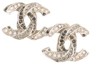 Chanel Chanel Twisted Two-Tone Large Crystal CC Silver Earrings