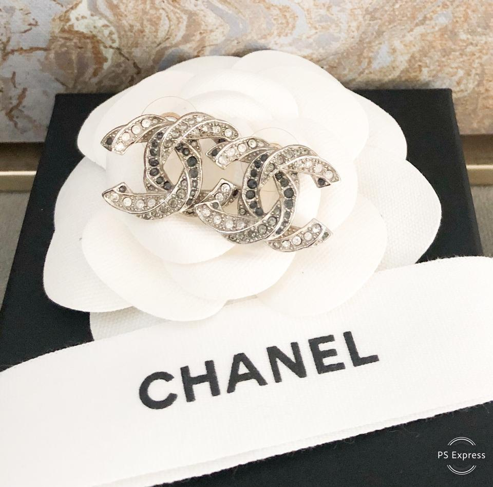 Chanel Twisted Two-tone Large Crystal Cc Silver Earrings